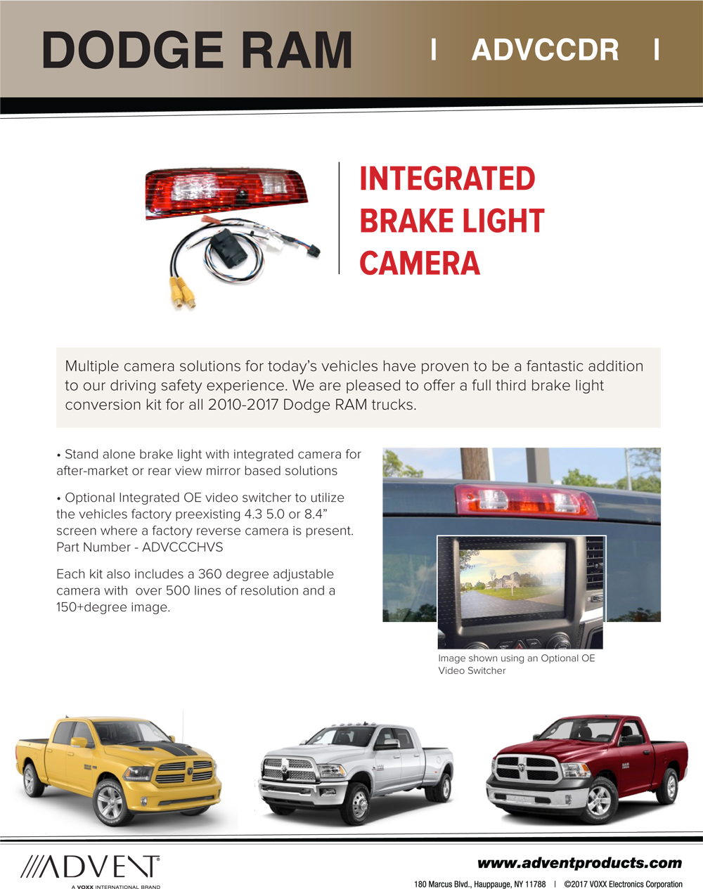 3rd Brakelight Camera For 2010 17 Ram Trucks Adc Mobile Backup Wiring 2012 Dodge 2500 Product Warranty 1 Year